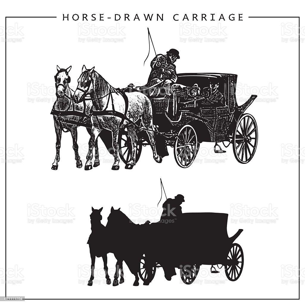 Vector Illustration of Horse-drawn Carriage. vector art illustration