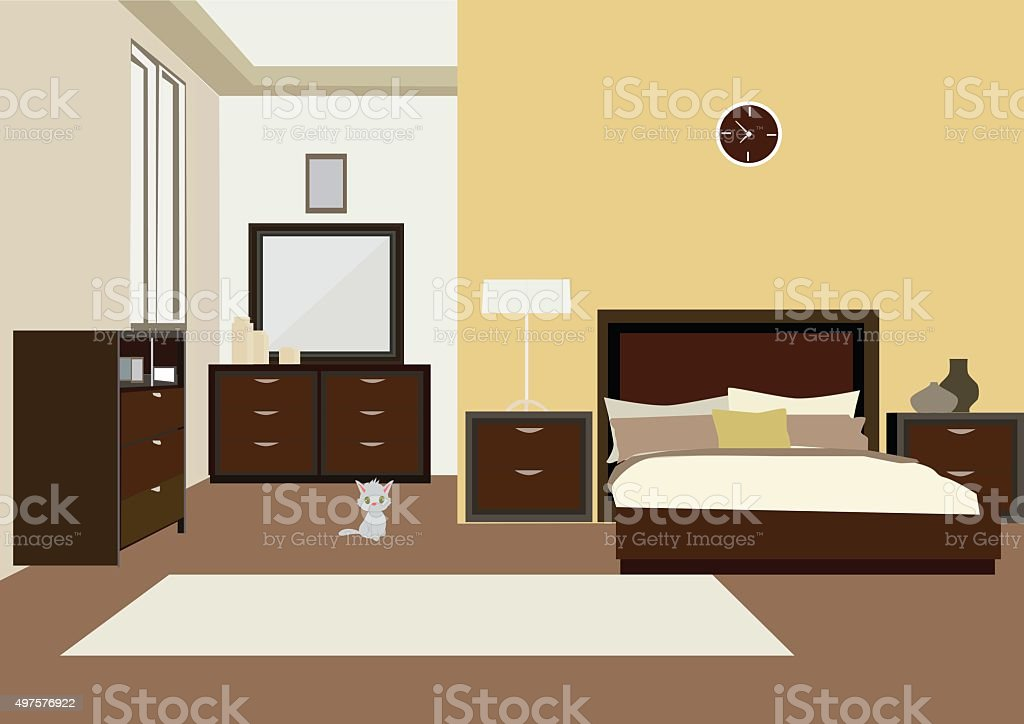 vector illustration of illustration of  bedroom interior vector art illustration