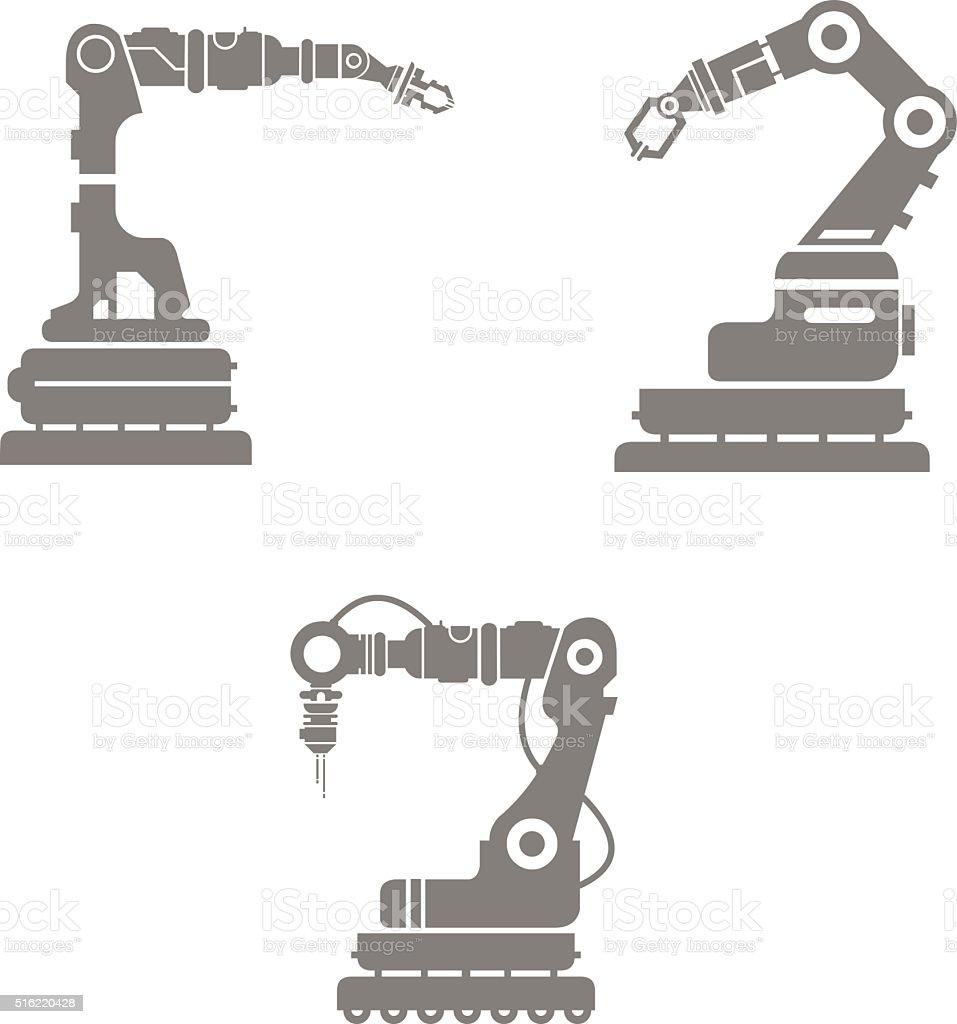 Vector illustration of industrial robotic arms. vector art illustration