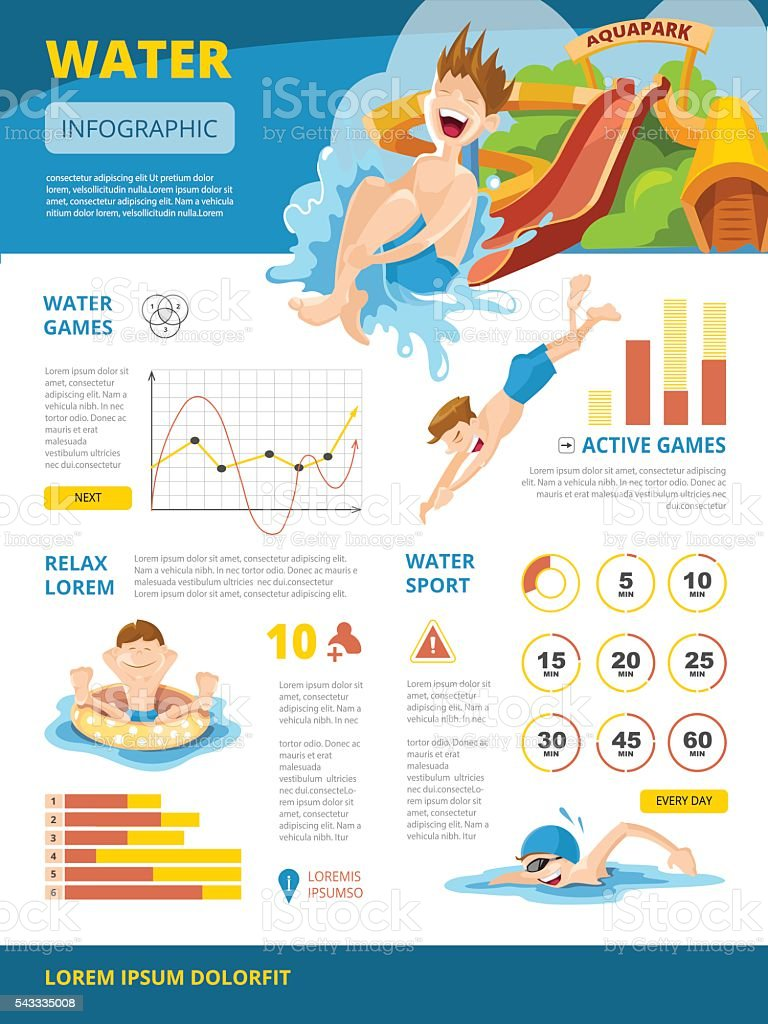 Vector illustration of infographics about water games vector art illustration