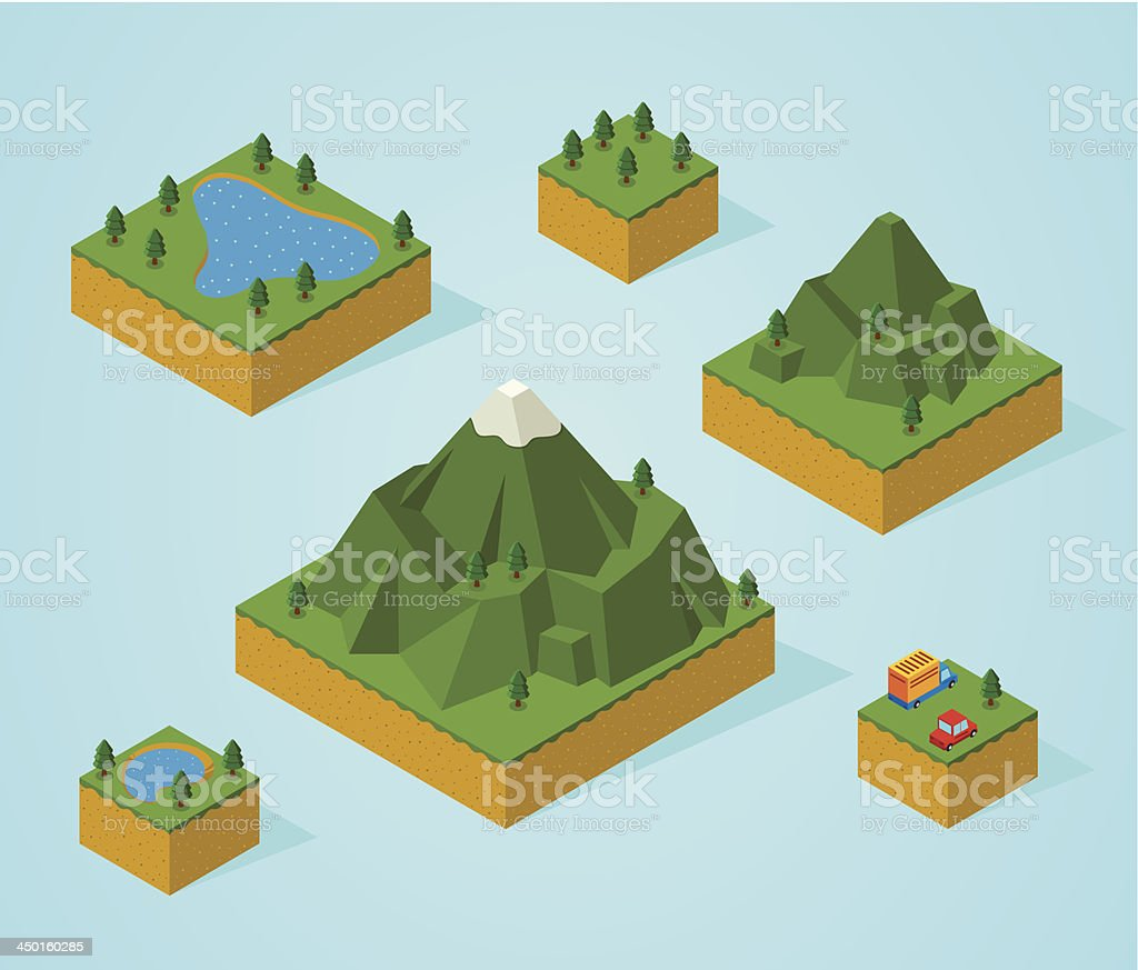 Vector illustration of isometric map pieces royalty-free stock vector art