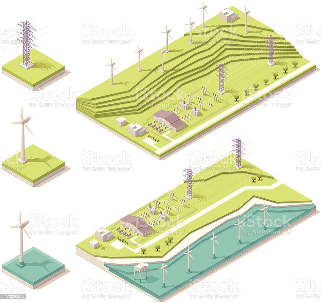 Vector illustration of isometric wind farm vector art illustration