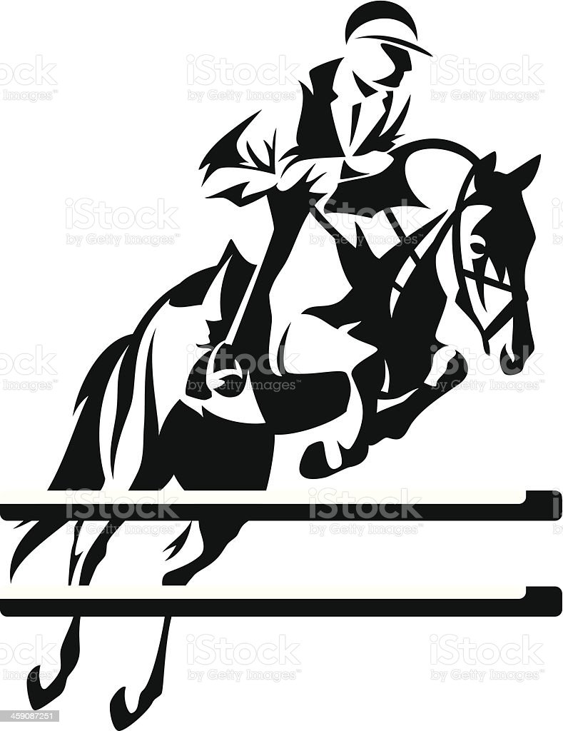 Line Drawing Jumper : Vector illustration of jumping horse with rider stock