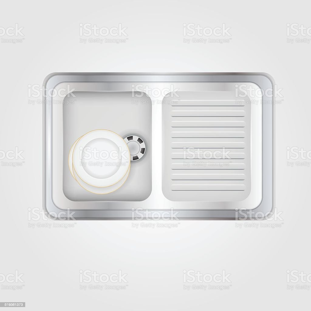 Vector illustration of kitchen sink vector art illustration