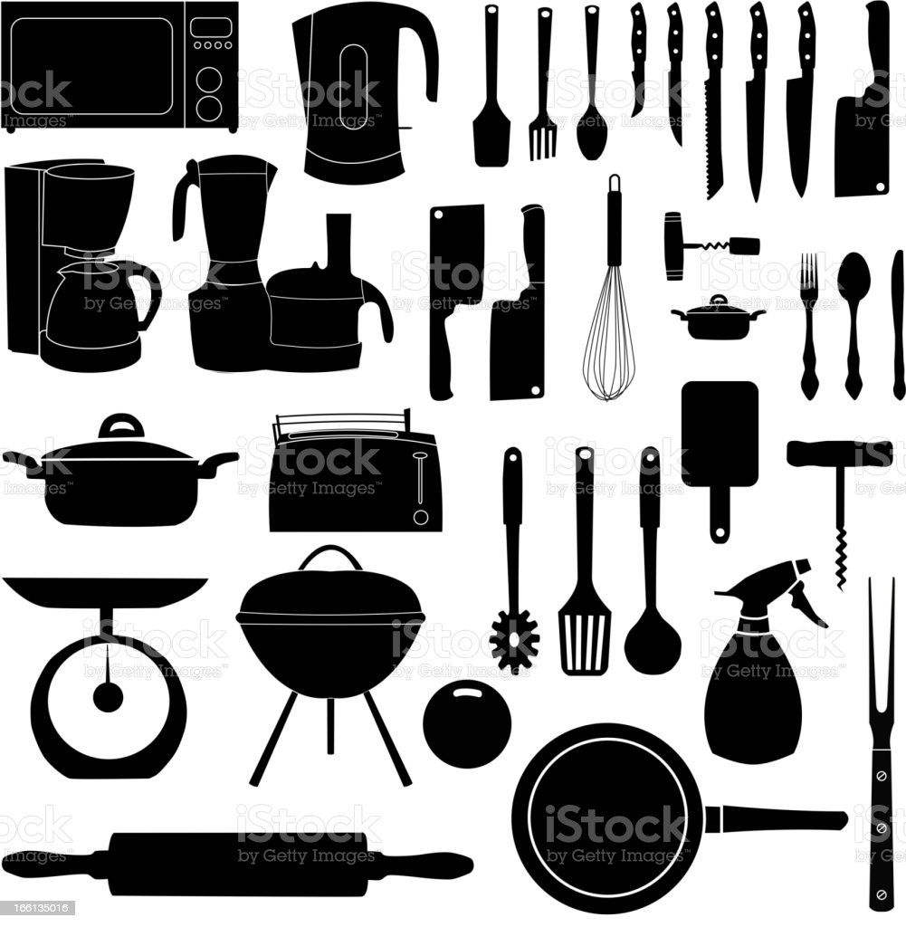 vector illustration of kitchen tools for cooking vector art illustration