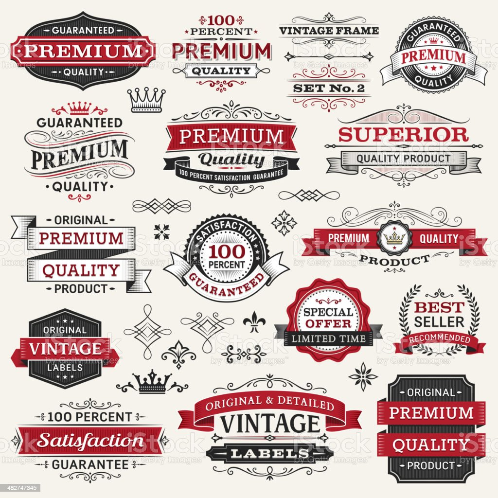 Vector illustration of labels, frames and banners vector art illustration