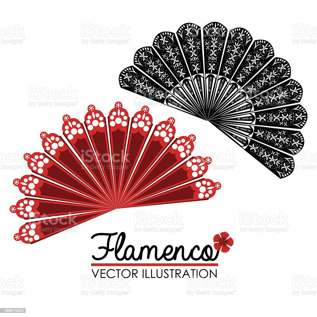 A vector illustration of lacy red and black flamenco fans vector art illustration