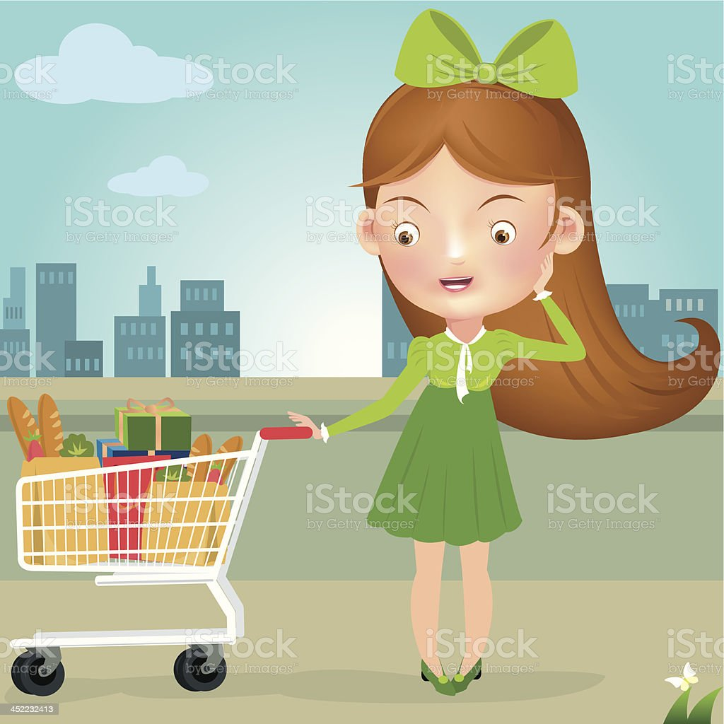 vector illustration of lady in salwar suit with shopping cart vector art illustration