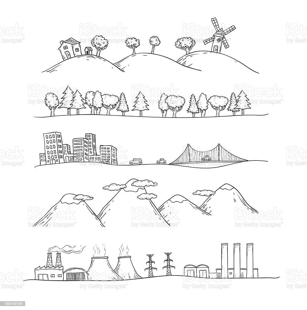 Vector illustration of  landscapes. Doodles hand-drawn style. vector art illustration