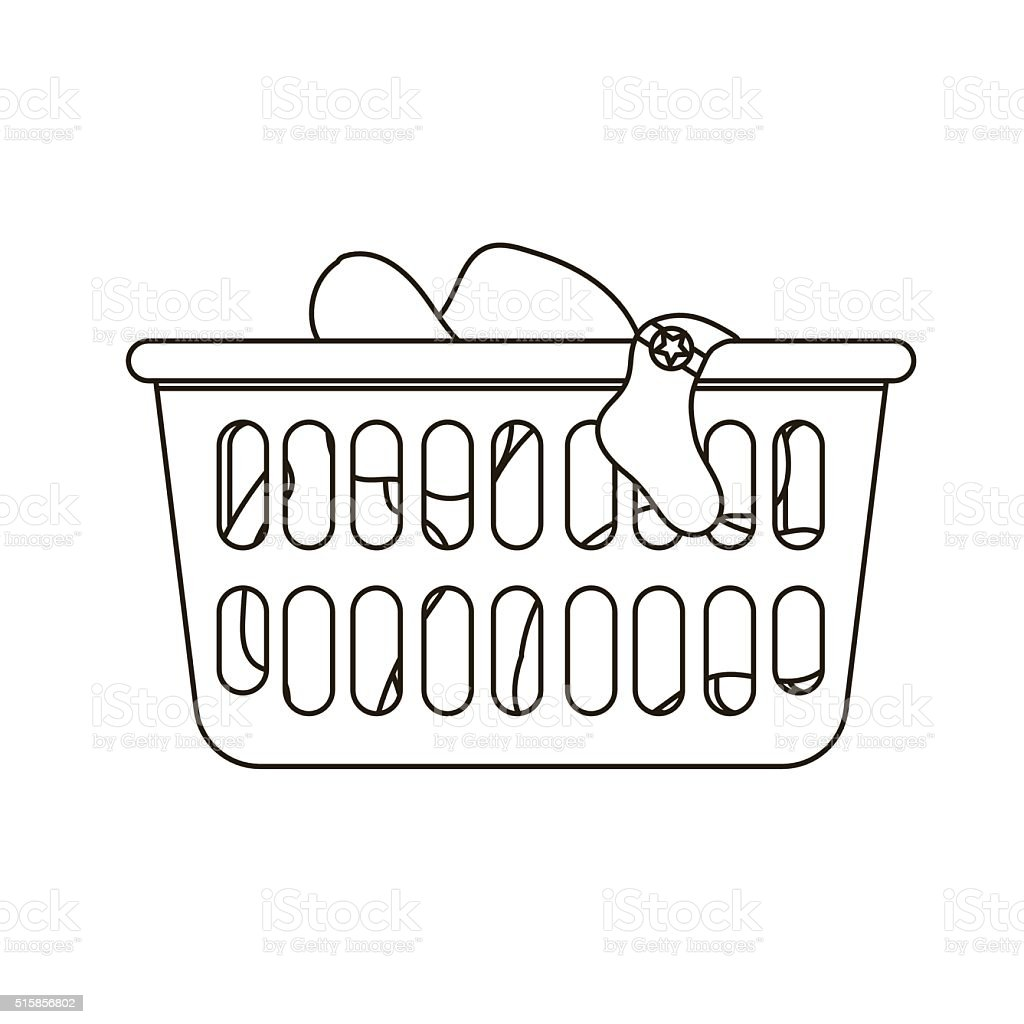 Vector Illustration Of Laundry Basket Stock Vector Art