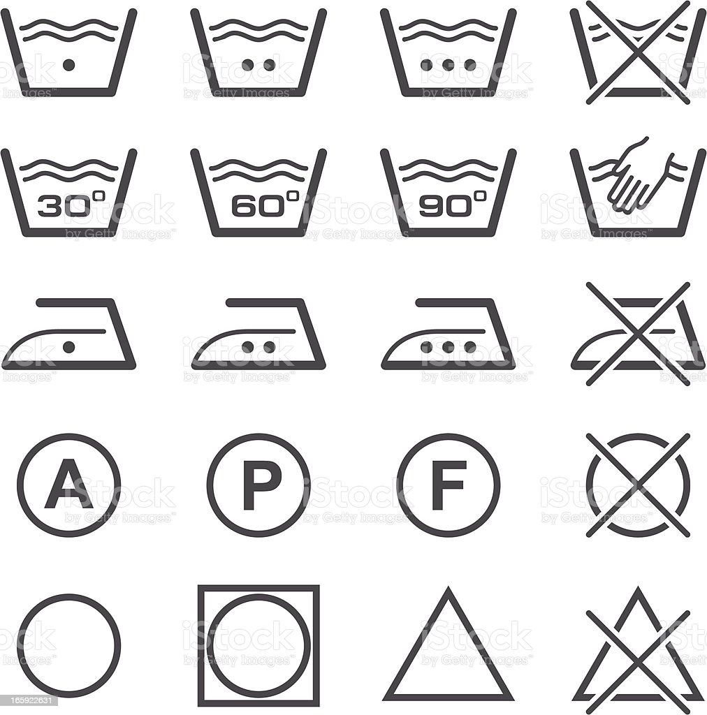 Vector illustration of laundry icons in black vector art illustration