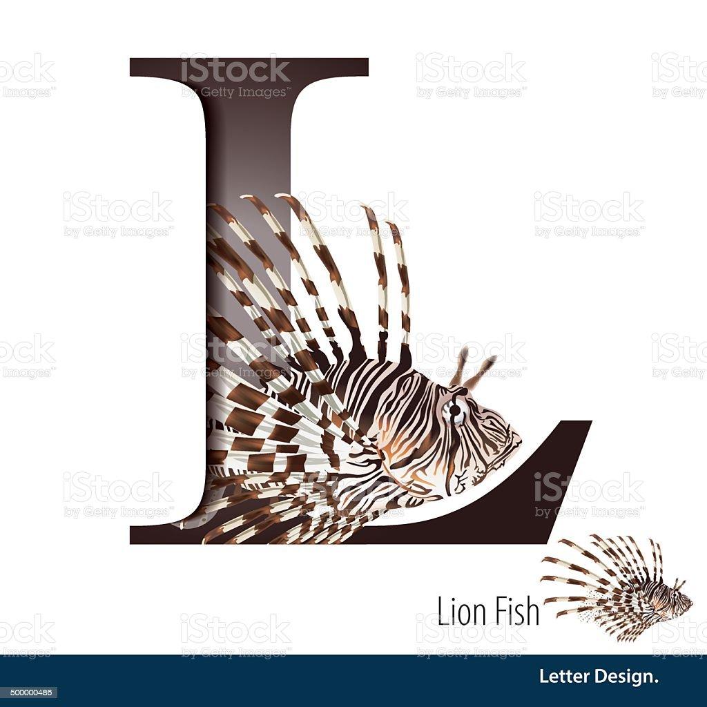 Vector illustration of Letter L is Lion fish alphabet. English vector art illustration