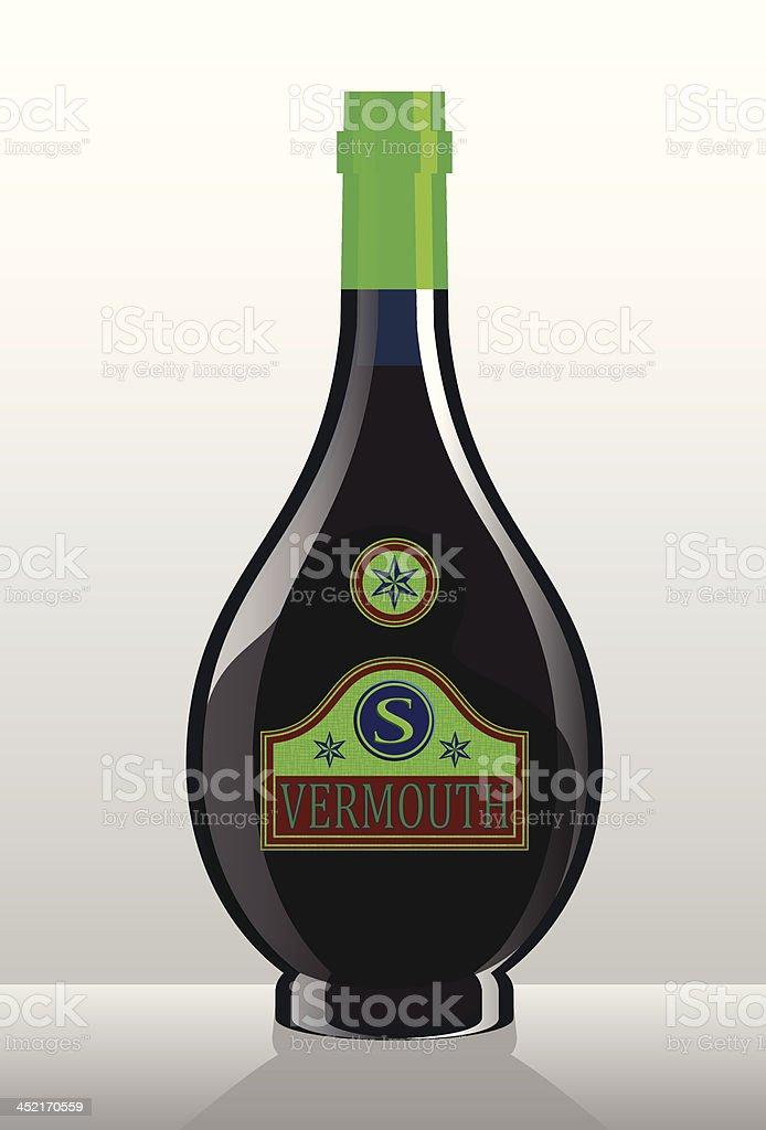 Vector Illustration of Liquor Bottle: Alcoholic Beverage Vermouth royalty-free stock vector art