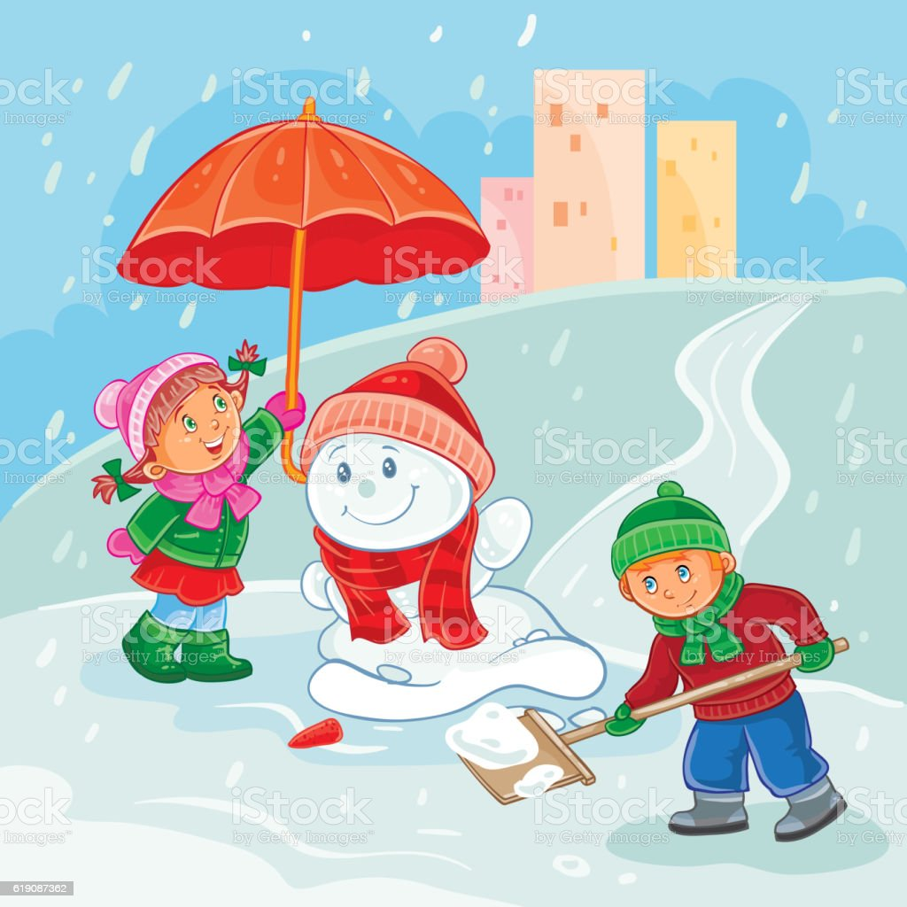 Vector illustration of little children playing outdoors in winter vector art illustration