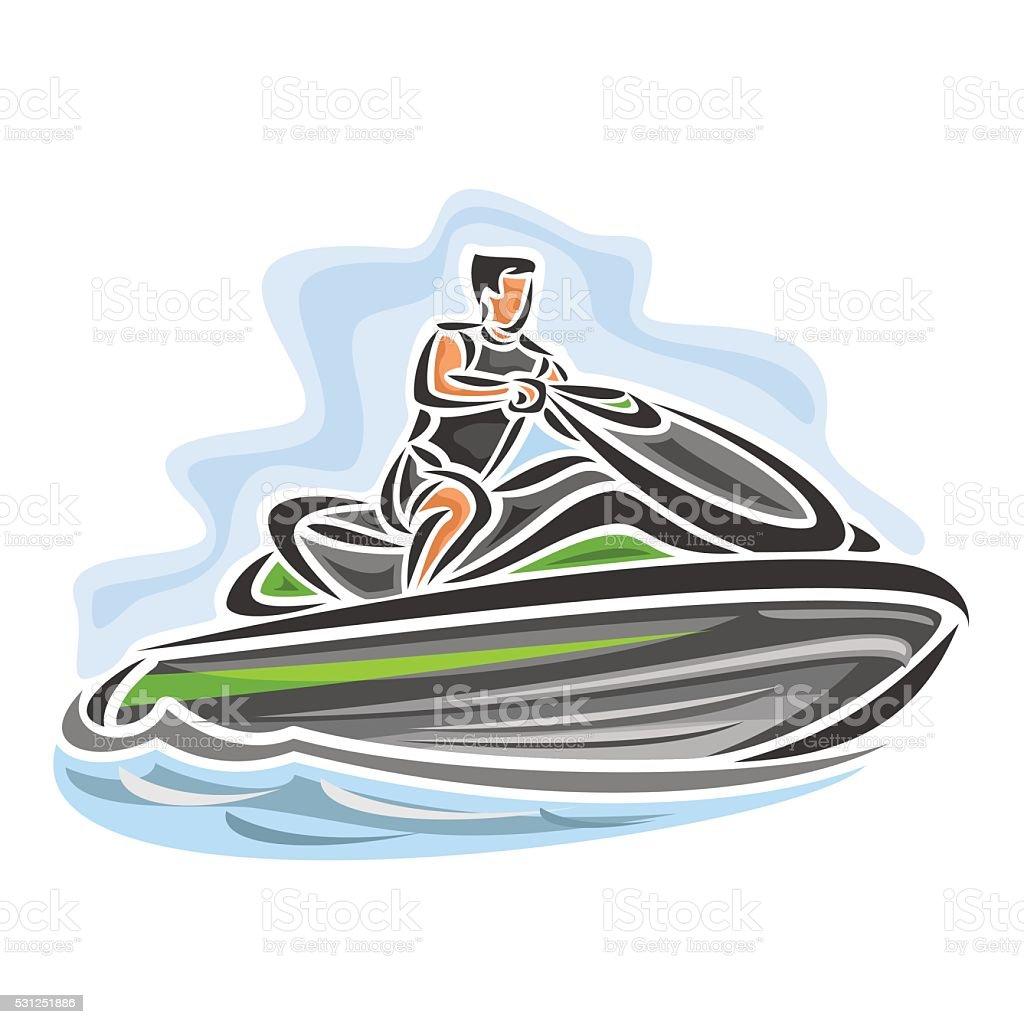 Vector illustration of logo for high-speed jet ski vector art illustration