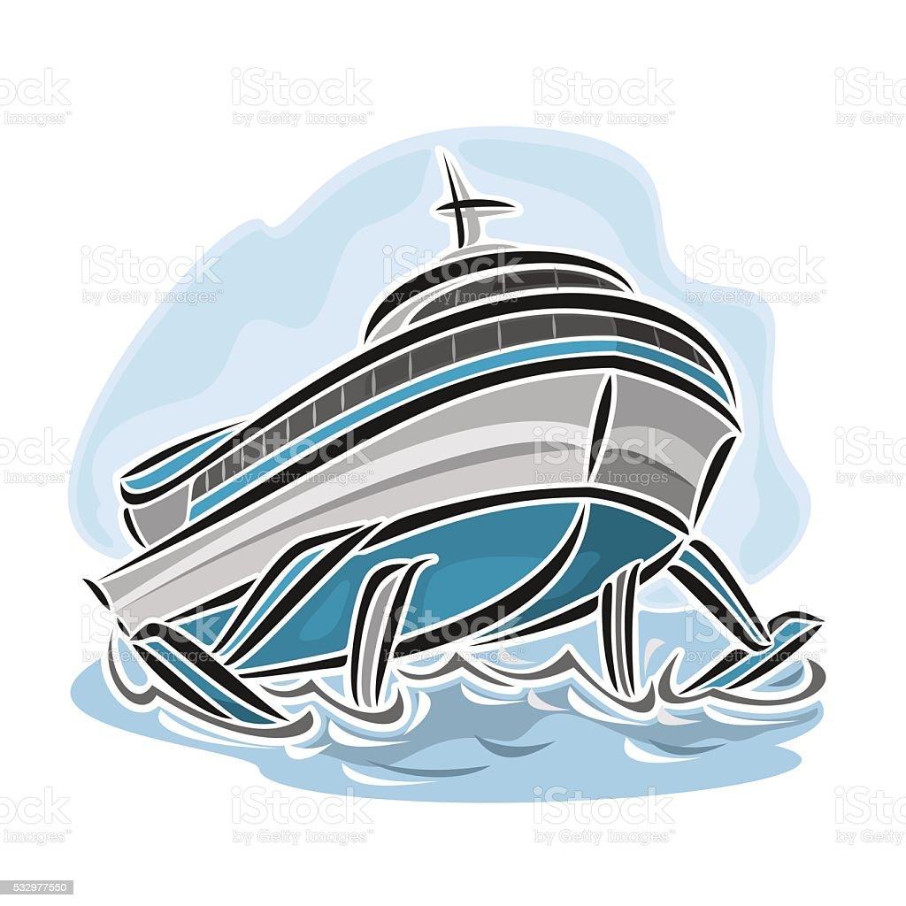 vector illustration of logo for hydrofoil ship stock vector art