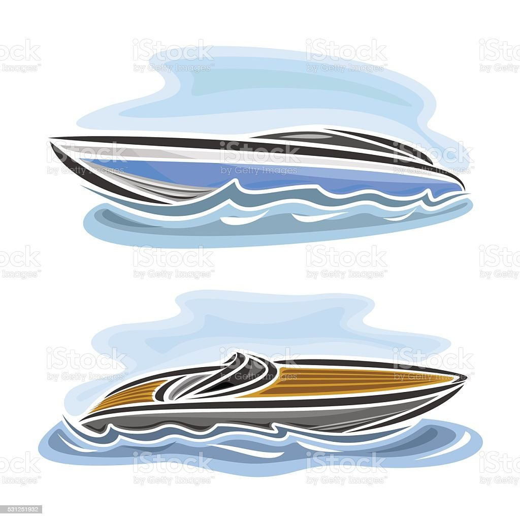 Vector illustration of logo for speed boat vector art illustration