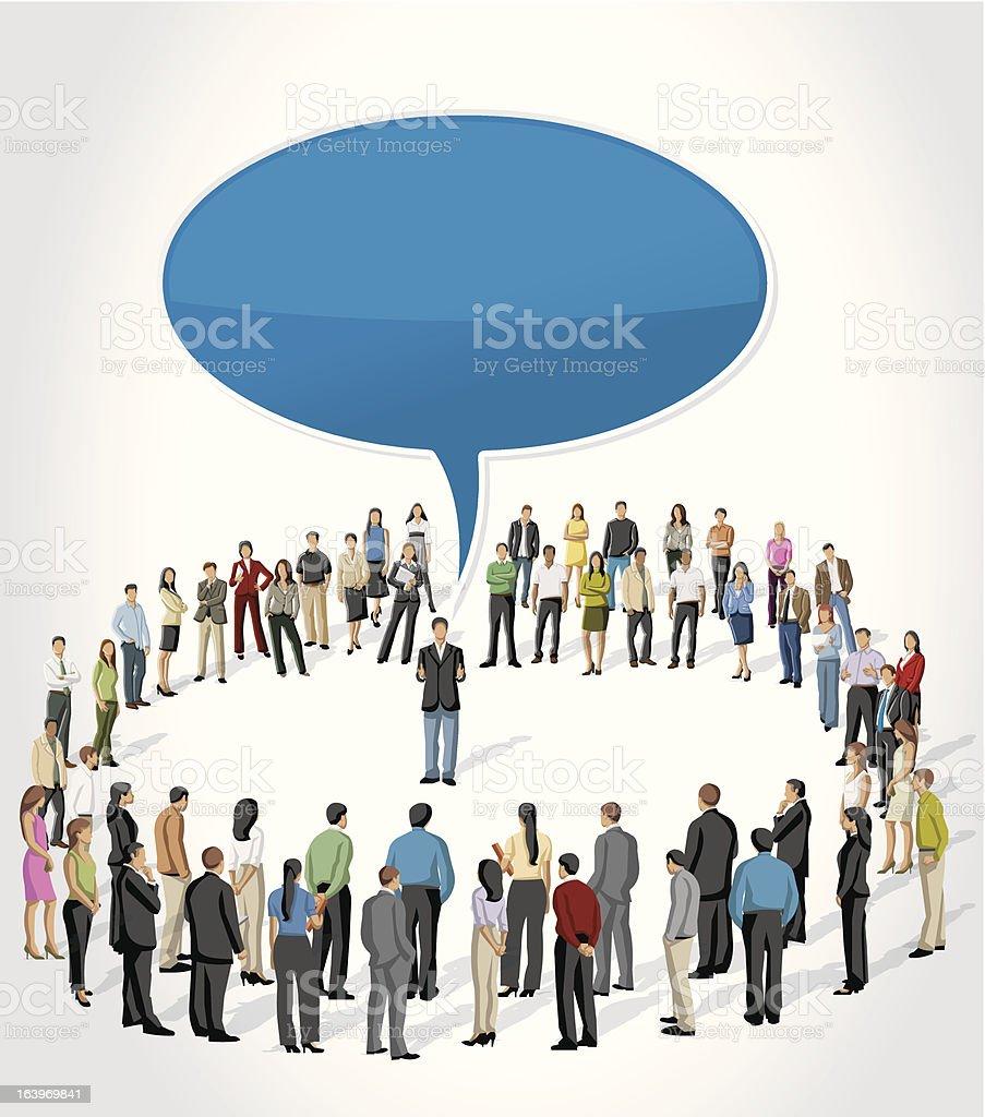 Vector illustration of man addressing crowd vector art illustration