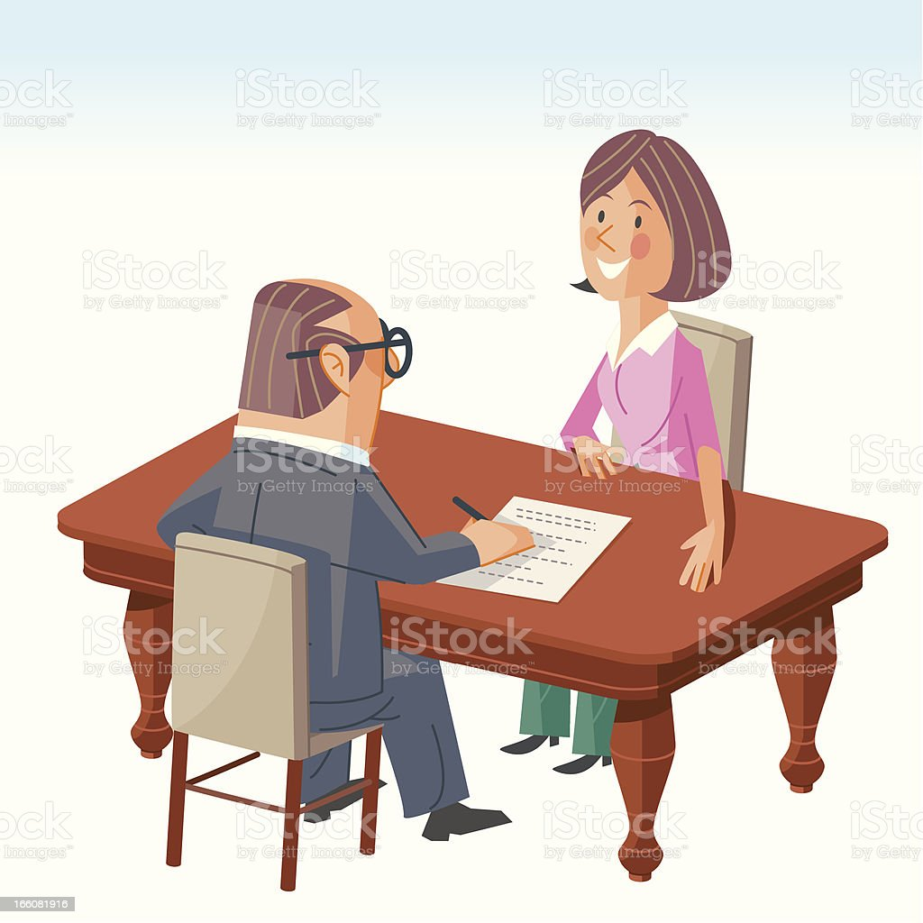 Vector illustration of man and woman in a meeting royalty-free stock vector art