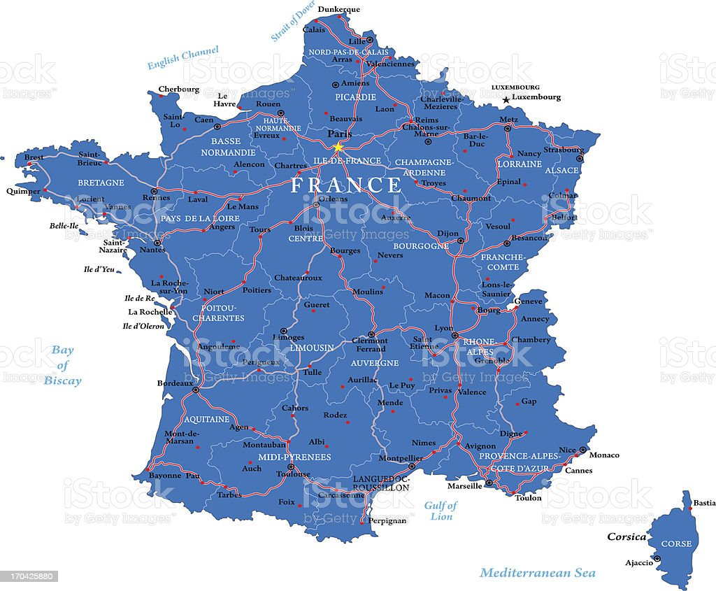 Vector illustration of map of France vector art illustration