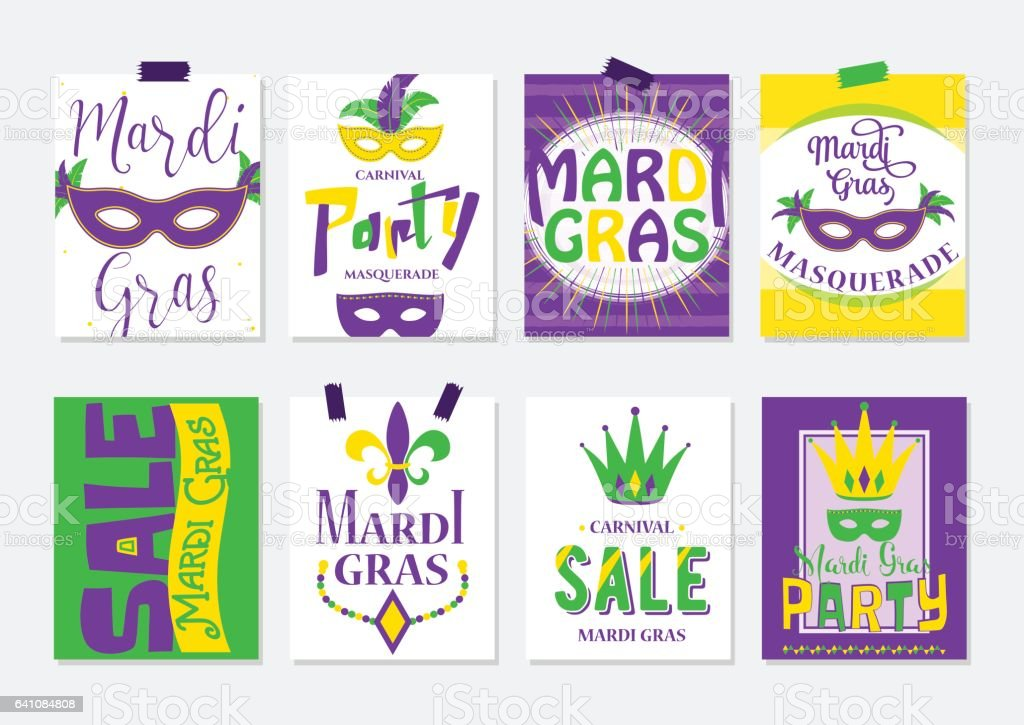 Vector illustration of mardi gras greeting cards, sale and party flyer vector art illustration
