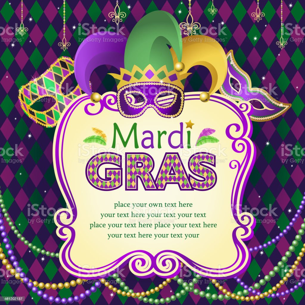 Vector illustration of Mardi Gras masks frame vector art illustration