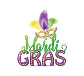Vector illustration of Mardi Gras text sign with venetian masquerade