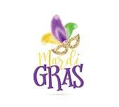 Vector illustration of Mardi Gras text sign with venetian masquerade