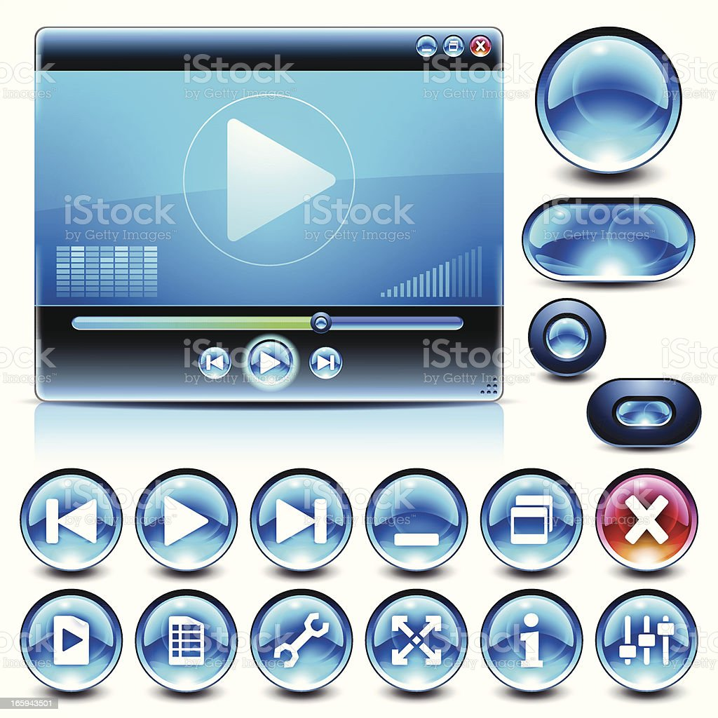 Vector illustration of media player components royalty-free stock vector art