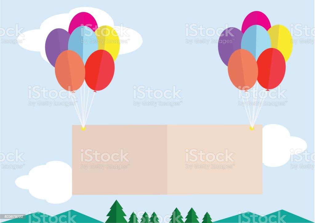 vector illustration of message poster balloon flying on sky vector art illustration