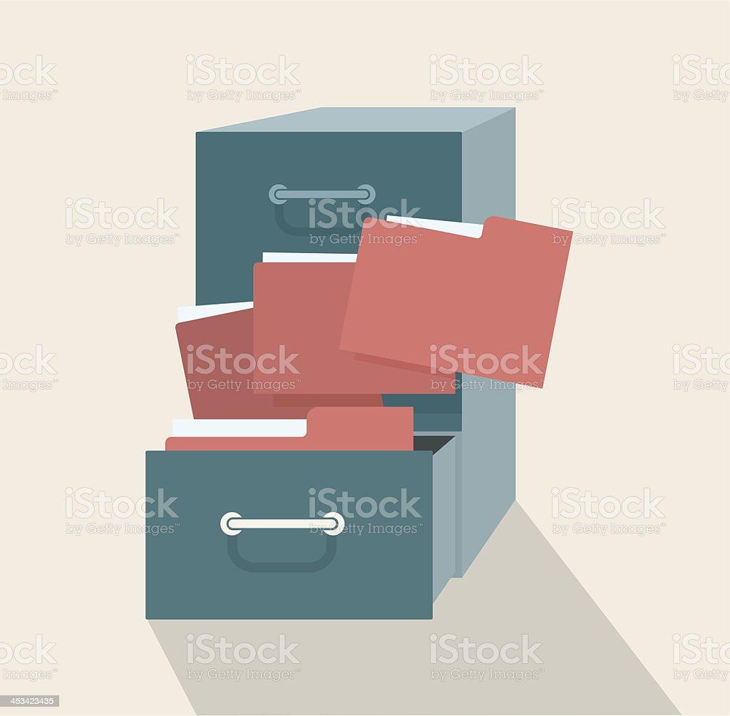 Vector illustration of metal filling cabinet vector art illustration
