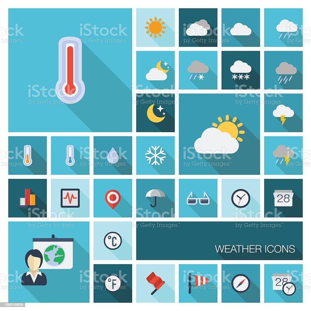 Vector illustration of meteo flat colored icons with long shadow vector art illustration