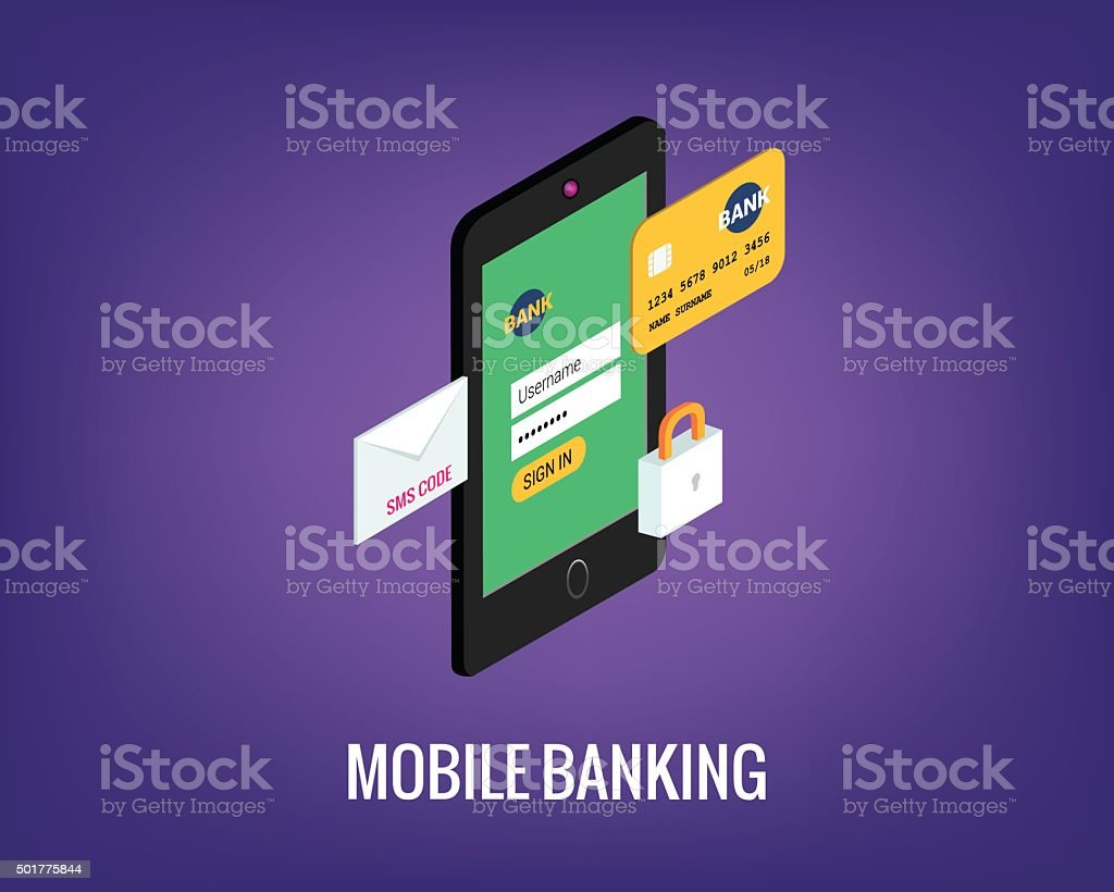 vector illustration of mobile banking with user interface. vector art illustration