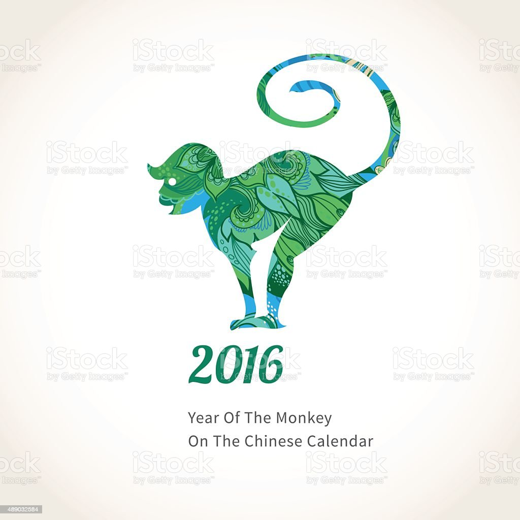 Vector illustration of monkey, symbol of 2016. vector art illustration