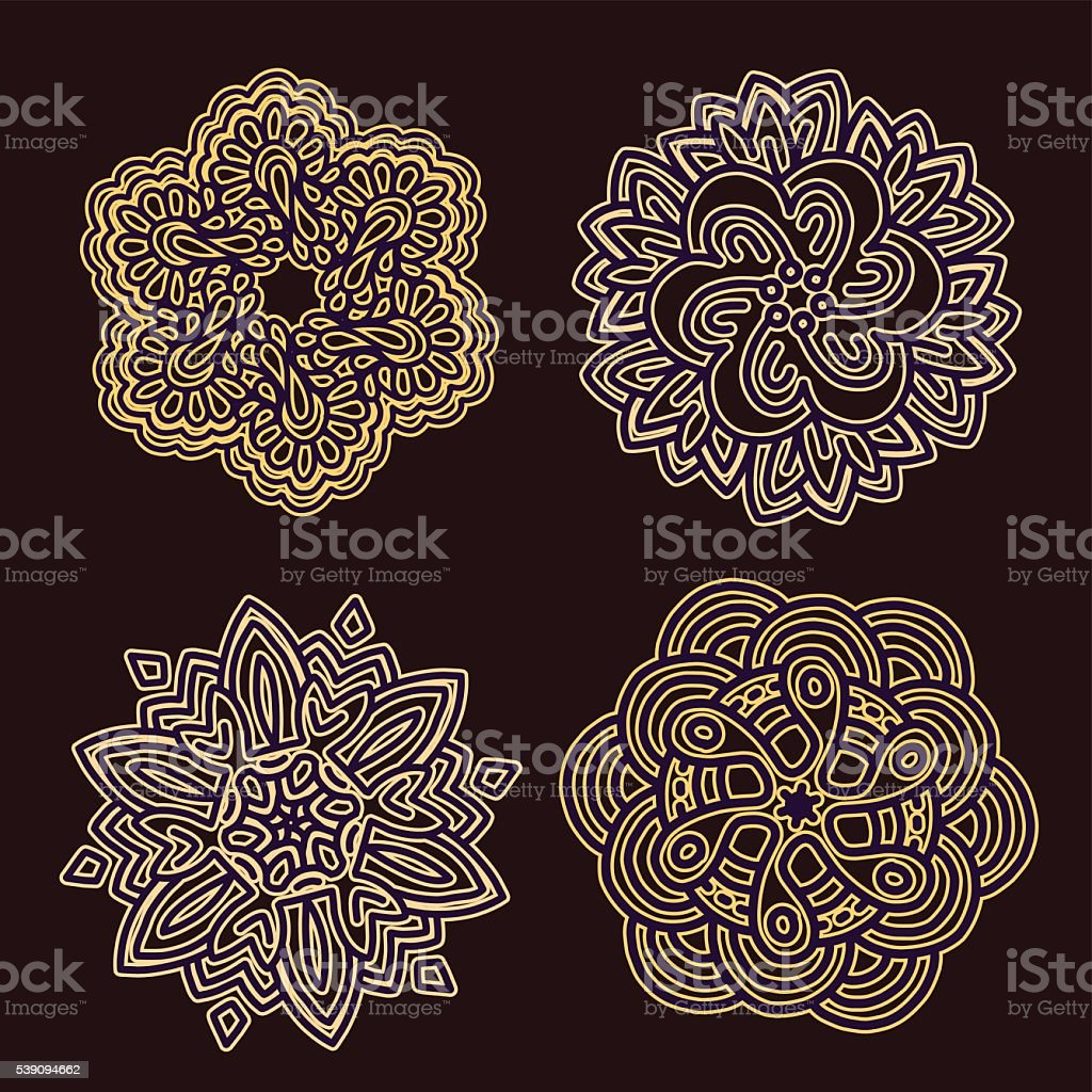 Vector illustration of monochrome round collection of lacy golde vector art illustration