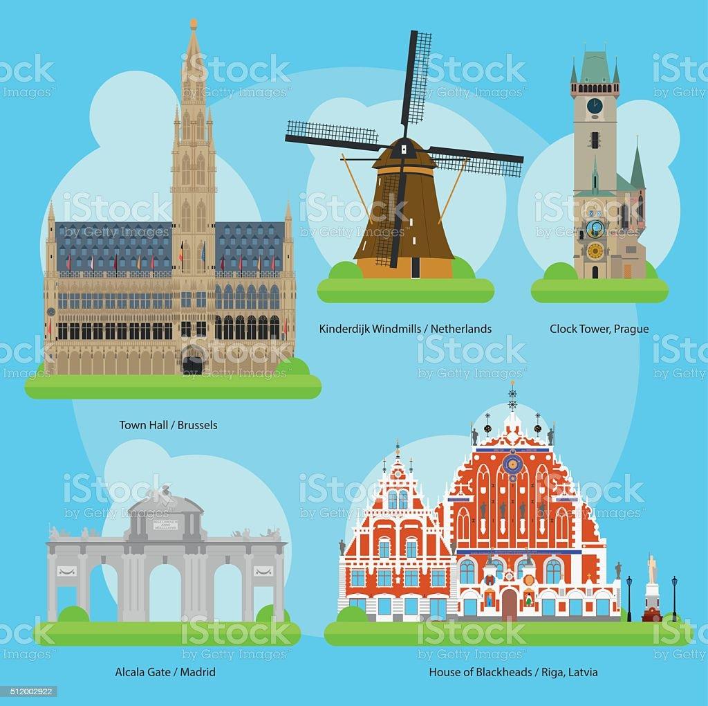 Vector illustration of Monuments and landmarks in Europe Vol. 3 vector art illustration