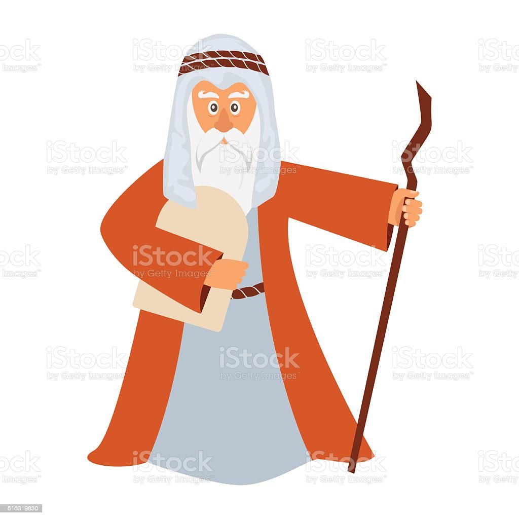 Vector illustration of Moses standing for Passover. vector art illustration