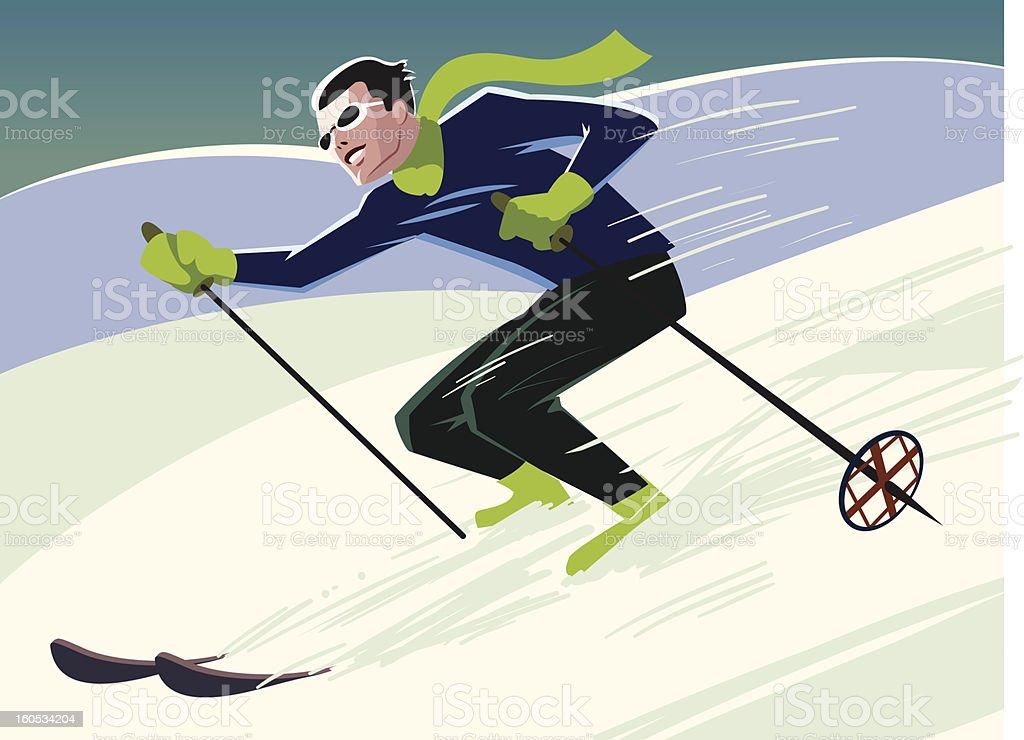 Vector illustration of mountain skier royalty-free stock vector art