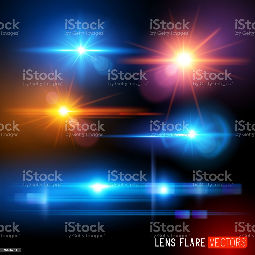 Vector illustration of multi-color lens flares vector art illustration