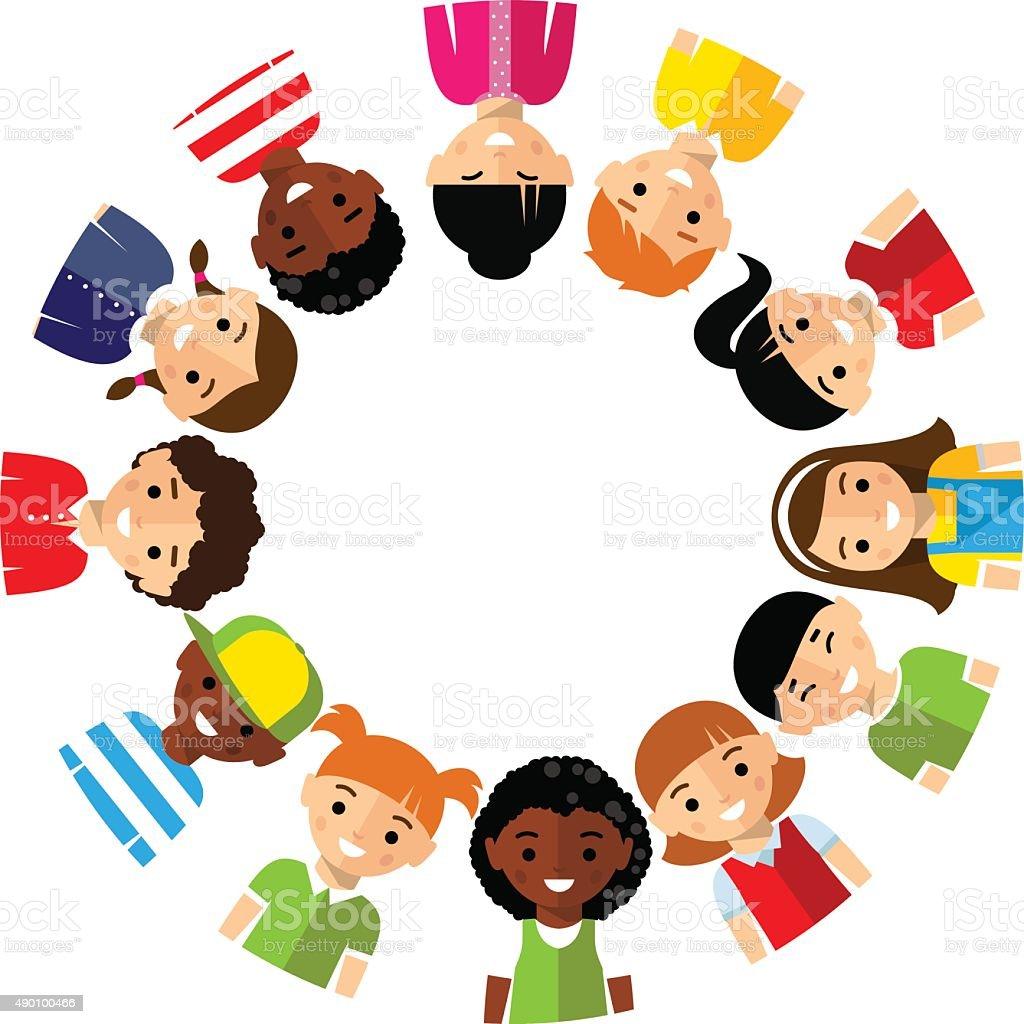 Vector illustration of multicultural children vector art illustration