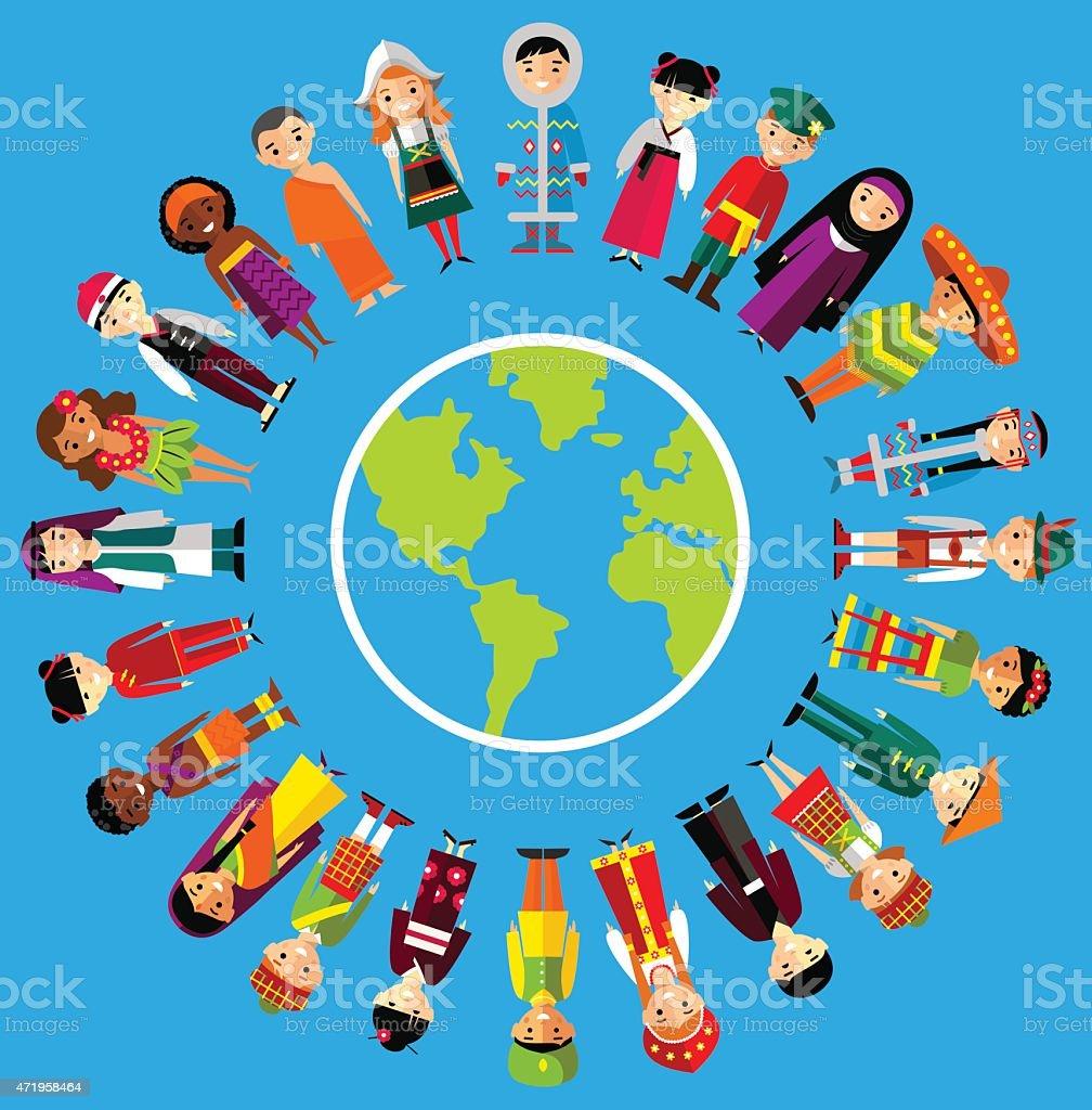 Vector illustration of multicultural national children, people on planet earth vector art illustration