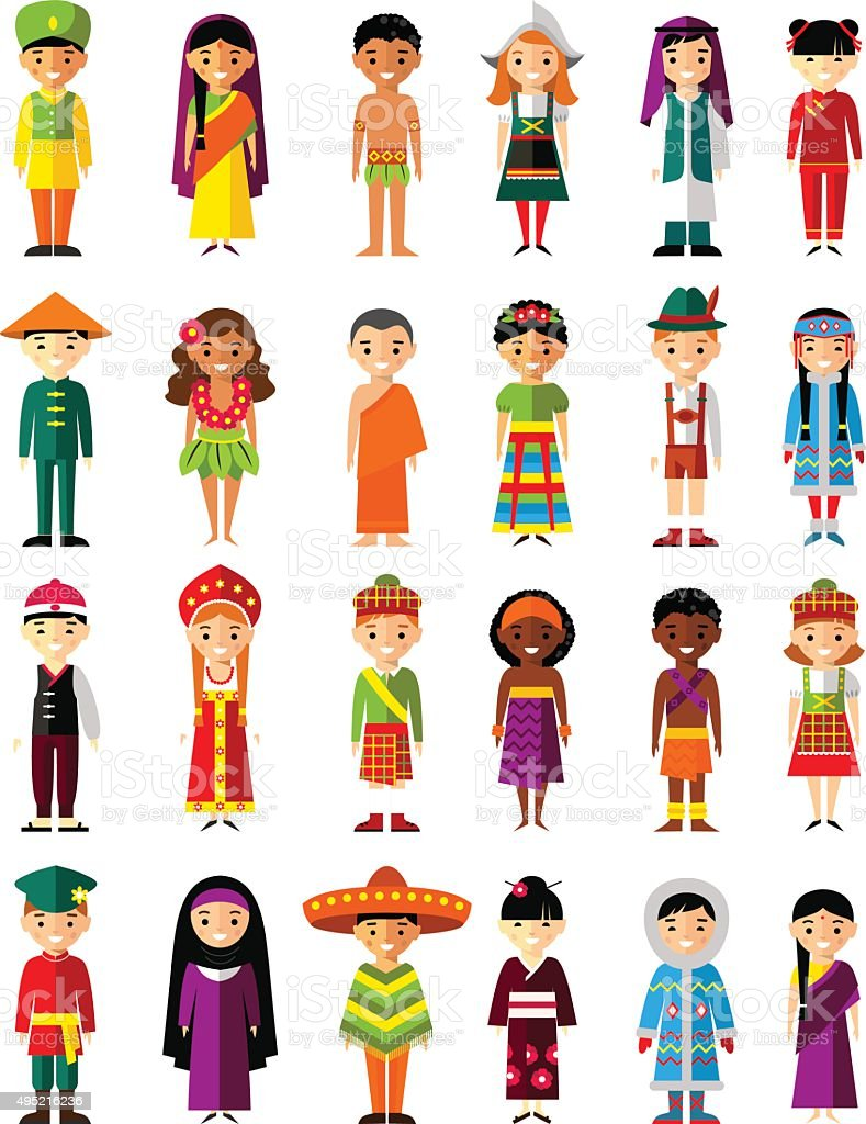 Vector illustration of multicultural national children, people on planet earth vector art illustration