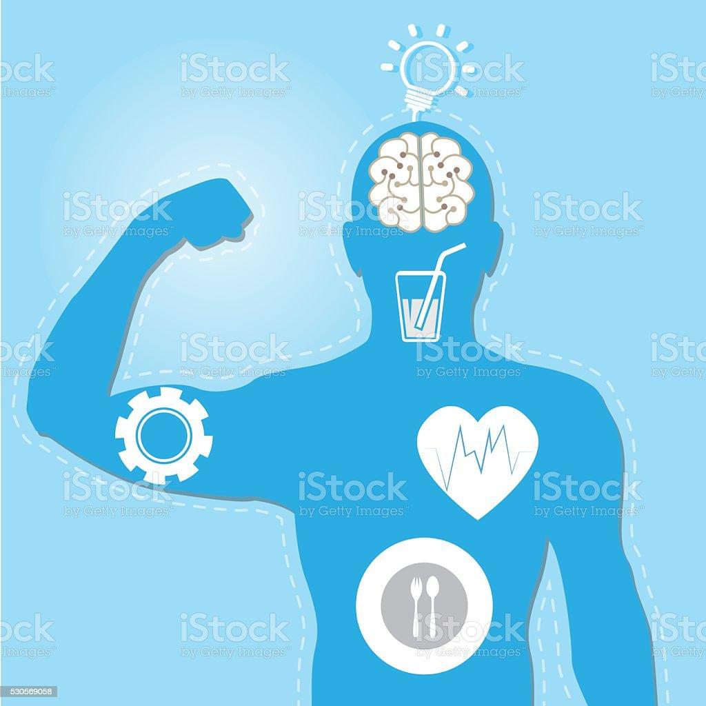 vector illustration of muscle blue man vector art illustration