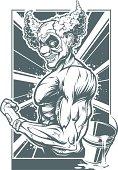 Vector illustration of muscular clown