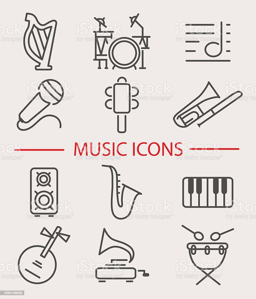 Vector illustration of musical instruments vector art illustration
