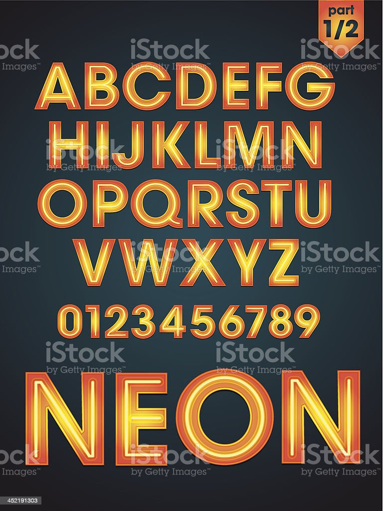 Vector illustration of neon alphabet and numbers royalty-free stock vector art