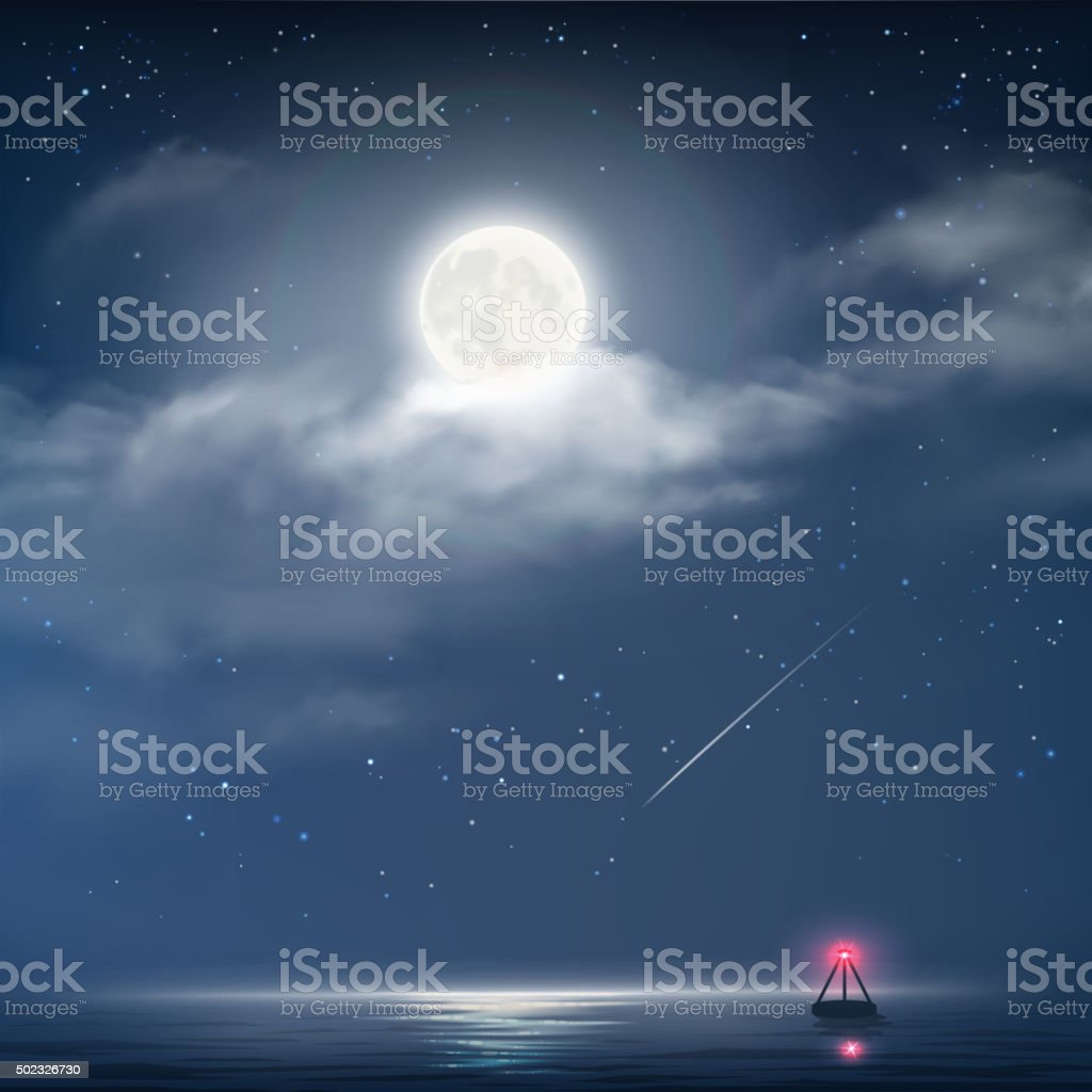 Vector illustration of night cloudy sky with stars and moon vector art illustration