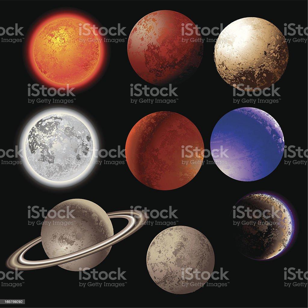 Vector illustration of nine planets over a black background vector art illustration