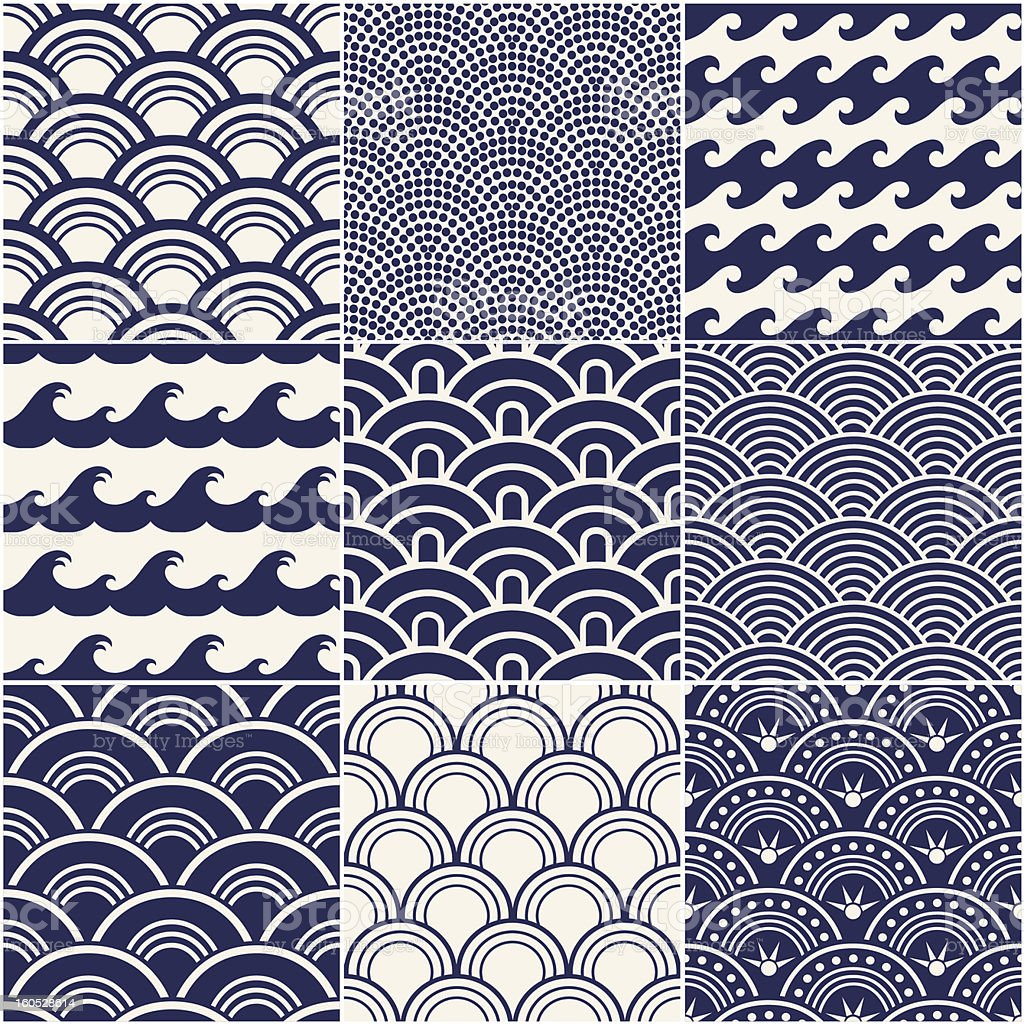 Vector illustration of ocean wave pattern vector art illustration