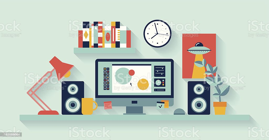 Vector illustration of office desk with computer vector art illustration